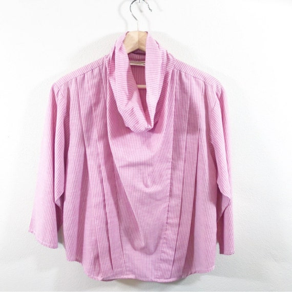 Vintage 1970's You Babes Cowl Neck Pink Striped Sh