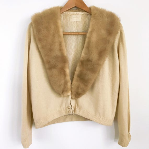 Vintage Cashmere Cardigan, Fur Collar Cardigan, Be