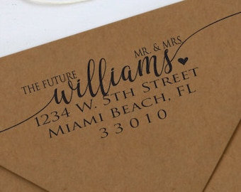 The Future Mr & Mrs. Address Stamp, Wedding Stamp, Rubber or Self Inking Stamp, Personalized Rubber or Self Inking Stamp
