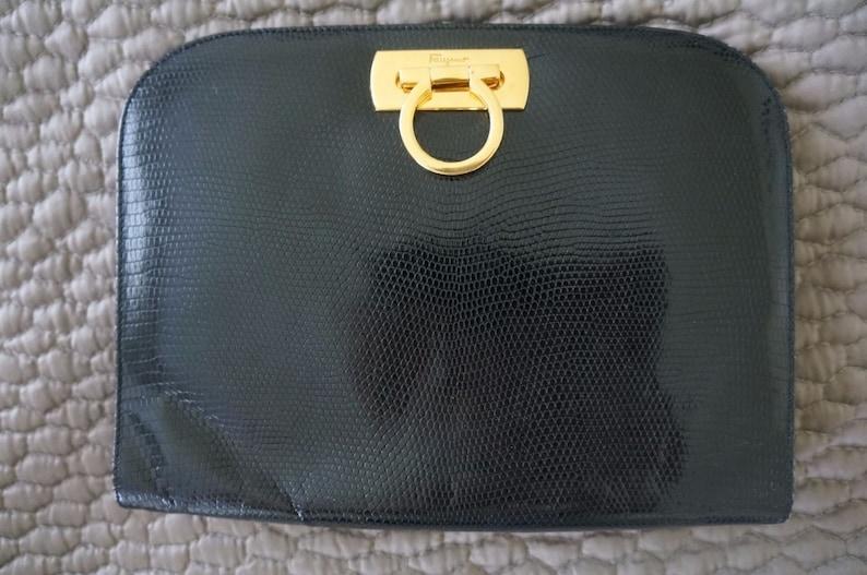 256ae4f576d Authentic Salvatore Ferragamo Gancini Chain Shoulder Bag.