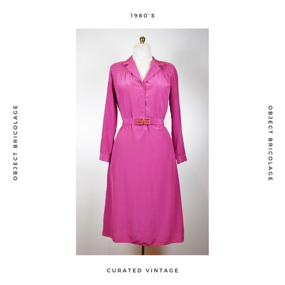 80s Pink Belted Dress