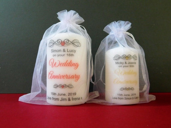 Personalised Candle Tealight Favours Anniversary Silver Ruby Gold Any Set of 10