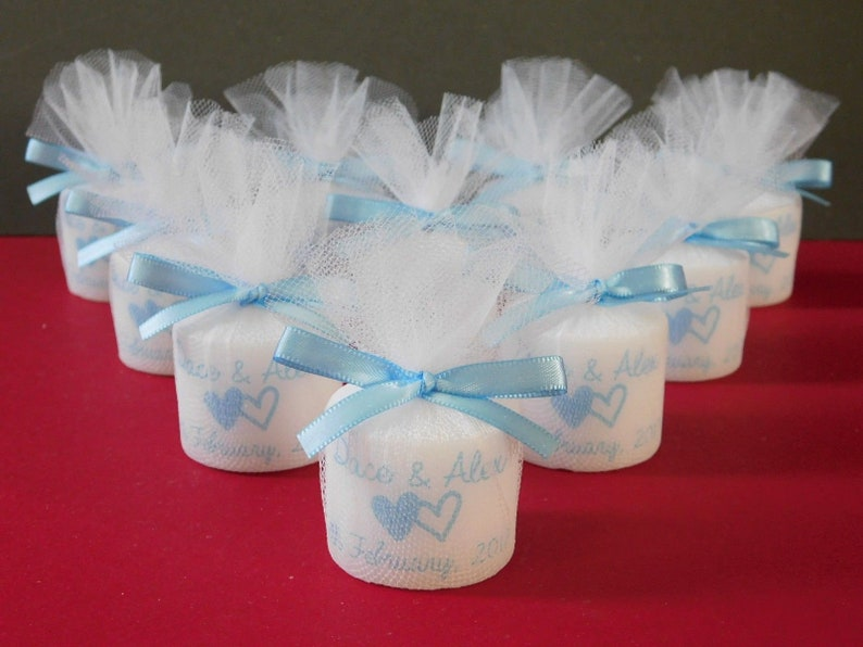 Set of 10 Personalised Votive Candle Wedding Favours Coral Satin Ribbon