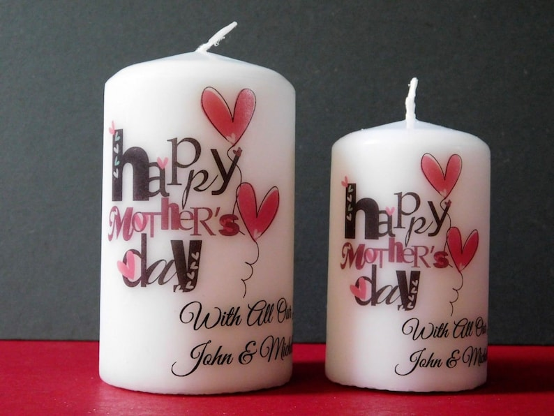 Personalised Mother's Mothers Day Candle Vintage Heart image 0