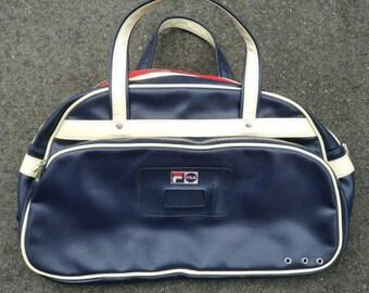 9addf1a27955 Vintage FILA Pleather Gym Travel Bowling Duffle Bag