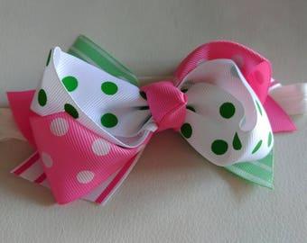 Baby headband, Pink bow headband, bow headband, baby bow headband, baby headbands, baby hair bows, newborn headband, polka dot