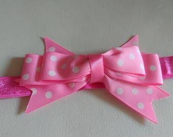 Pink baby headband - Pink bow headband, bow headband, baby bow headband, baby headbands, baby hair bows, newborn headband, polka dot