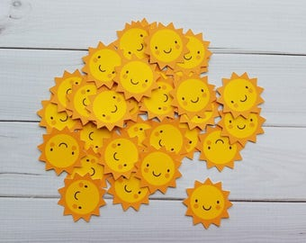 Smiling Sunshine Sun Die Cuts, Punchies, Punches, Embellishments, Confetti, Party Favors, Scrapbooking