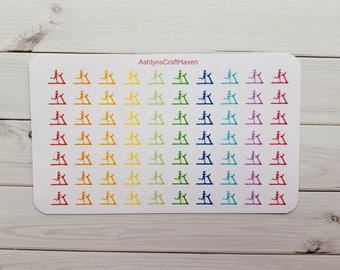 Rainbow Treadmill Planner Stickers- Perfect For Any Planner- Erin Condren, Happy Planner, Filofax