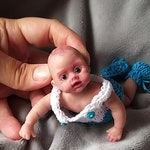 """Mini silicone baby boy full body Sacha 4.7"""" , eyes open, open mouth, with pacifier, bottle,  babies, doll, mini, reborn doll"""