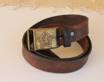 Vintage Genuine Leather Belt Adjustable Belt Brown Real | Etsy
