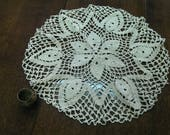 Vintage Cotton Handmade Small Table Cloth Doily from 1970s, Unique Round Ecru Crochet Table Cloth, Rustic Home Decor
