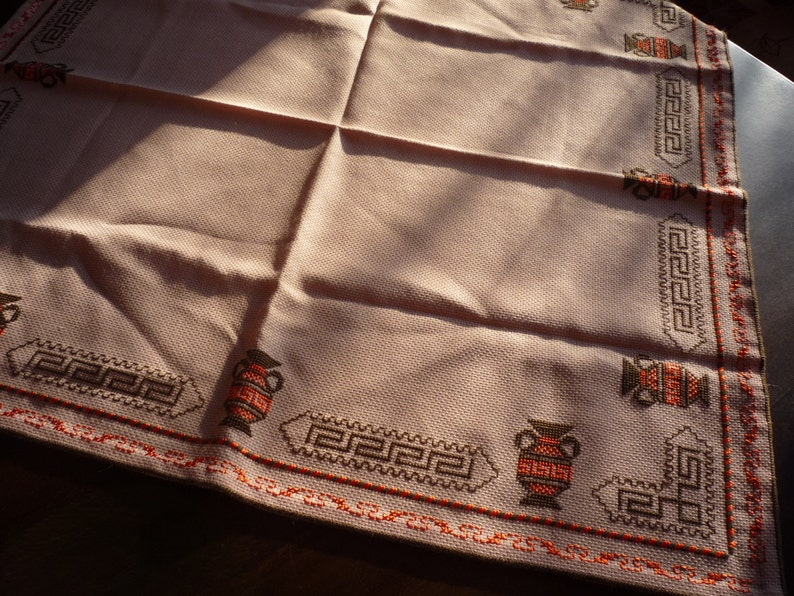 Traditional Bulgarian Motives Folk Art Embroidery Vintage Doily Hand Embroidered Small Tablecloth from 1970 s Kitchen Decor
