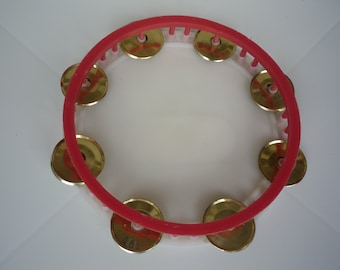 Reserved for Michael Lancaster, Vintage Tambourine, Plastic and Metal Round Children Tambourine 70s, Bulgarian Musical Instrument