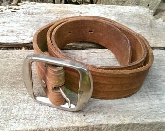 Vintage Genuine Leather Belt, Adjustable Belt, Brown Belt with Silver Tone Buckle from 1970s, Gift Idea