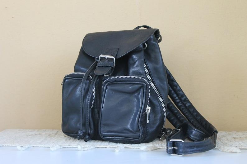 Black Real Leather Backpack Everyday Rucksack Vintage Backpack Lady Back Bag Purse Gift for Her Small Leather Backpack