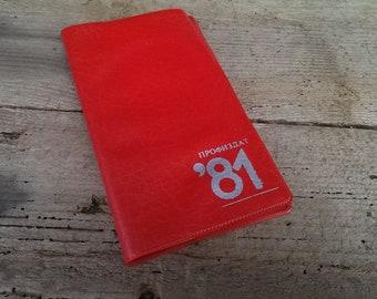 Vintage Red Leatherrete Notebook, Small Pocket Notebook, 1980s Bulgarian Original Notebook, Desk Decor
