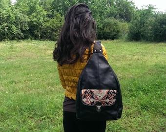 Vintage Black Genuine Leather Backpack, Real Leather Backpack, Everyday Rucksack, Back Bag Purse