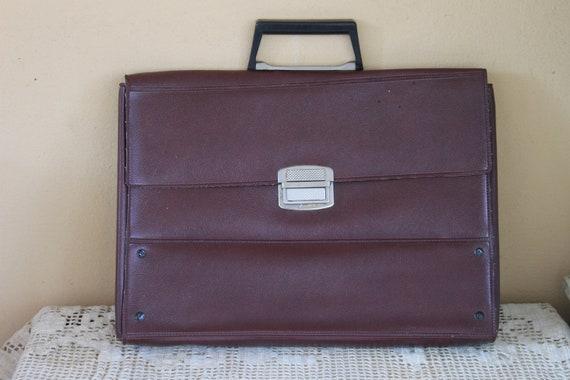 Vintage Leatherette Briefcase, Wine-colored Leathe