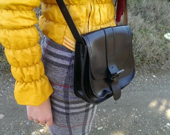 Vintage Black Genuine Leather Bag, Small Real Leather Bag, Lady Shoulder Bag, Every day Bag, Gift for Her