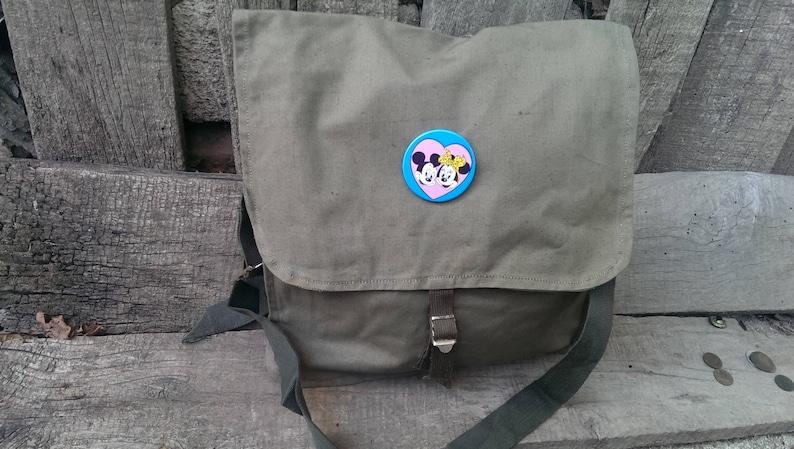 Student bag Vintage Shoulder Canvas Bag Unused Bag USSR type Cold War Messenger Khaki Canvas Bag from 1970 s Mickey and Mini Mouse Badge