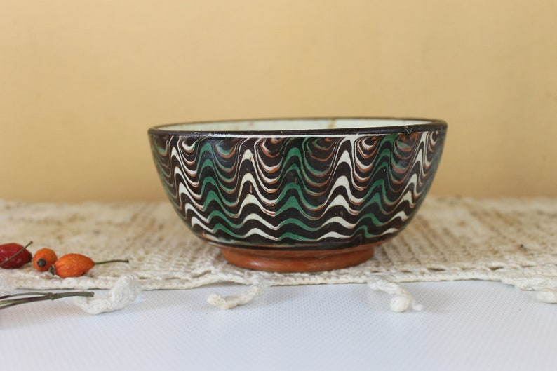 Rustic Home Decor Glazed Clay Bowl Antique Bowl Antique Dish Hand painted Ceramic Bowl Bulgarian Troyan Pottery