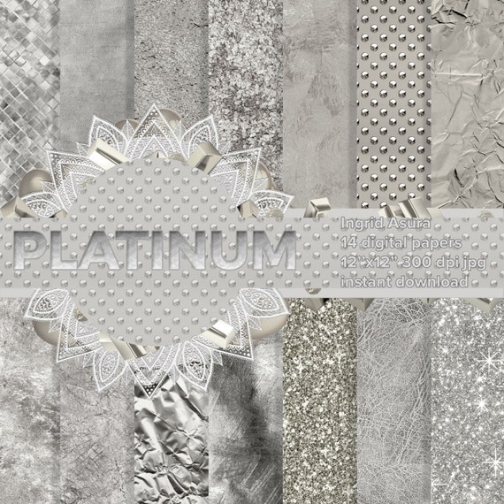 Modello Steamless Platino Argento Bianco Carta Digitale Sfondo Etsy