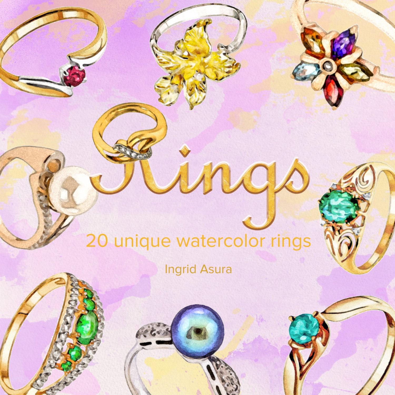 20 Watercolor Clip Art Rings Gold Silver Gemstone Wedding | Etsy