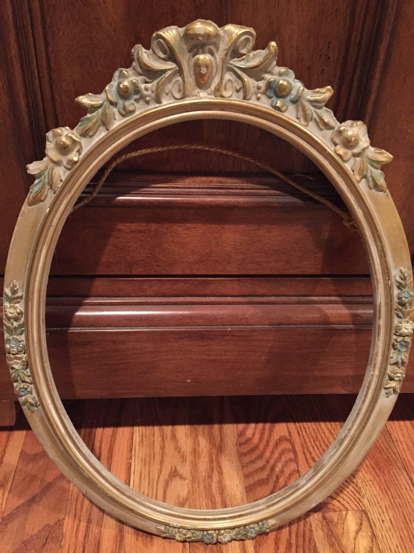 Antiguo marco de madera, Oval Frame, marco de yeso, pintada marco de ...