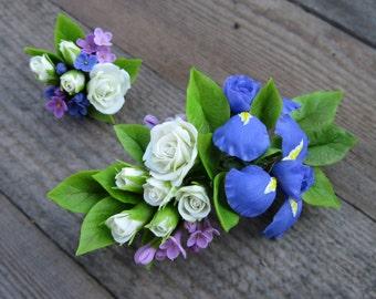Spring wedding hair accessories rustic wedding hair clip Floral hair clip Flower barrette Lilac wedding Iris flower Bridesmaid hair flower