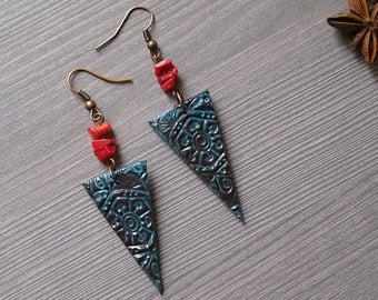 Boho earrings Tibetan jewelry Ethnic earrings Gypsy earrings Polymer clay earrings Hippie earrings indian earrings Tribal earrings coral
