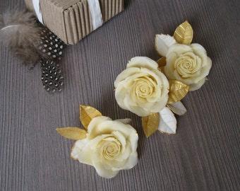 Ivory wedding hair flower Ivory wedding hair piece Bridal hair piece Ivory hair flower Ivory gold hair flower Rose gold wedding headpiece