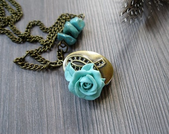Personalized locket necklace Initial locket Secret message locket Message necklace gift Lariat necklace Turquoise necklace Custom message