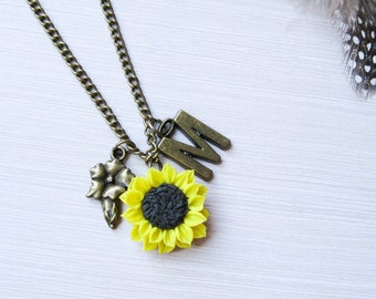 Best selling items Sister birthday gift-for-mom Custom charm necklace with initials charms Flower charm necklace Yellow sunflower necklace