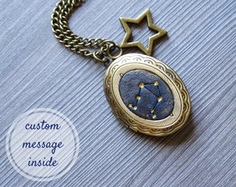 Custom gift I love you to the moon and back Personalize locket necklace Secret message necklace for mom gift for mother Zodiac celestial