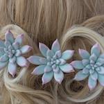 Bridal hair pin with succulent bobby pin Wedding hair pins Succulent hair piece bridesmaid hair pins set Blue succulent hairpiece Floral pin