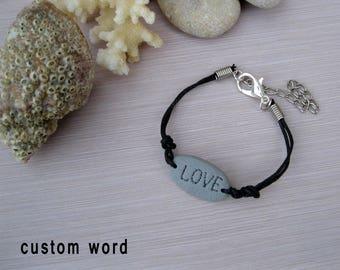 Customized bracelets for her Custom word jewelry Custom bracelet Word bracelet Motivational jewelry Custom gift Word charm Hope bracelet