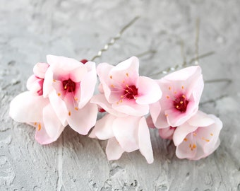 Spring wedding hair pin Bridesmaid hair flower hair accessories Blossom hair pin Cherry blossom hair piece Apricot blossom hair pin flower