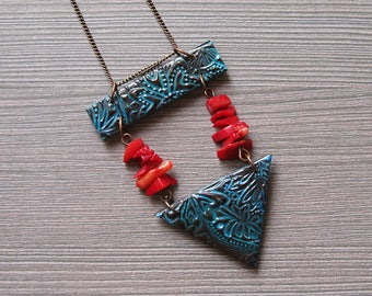 Bohemian necklace Tribal necklace Gypsy jewelry Gypsy necklace Hippie jewelry Hippie necklace Ethnic jewelry Ethnic necklace coral necklace