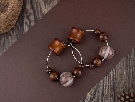 Hanging Plugs Tribal Jewelry Stretched Ears 00g Star Wood Hoop Earrings 10 mm Dangle Plug Earrings Tribal Plugs White Wood Plugs