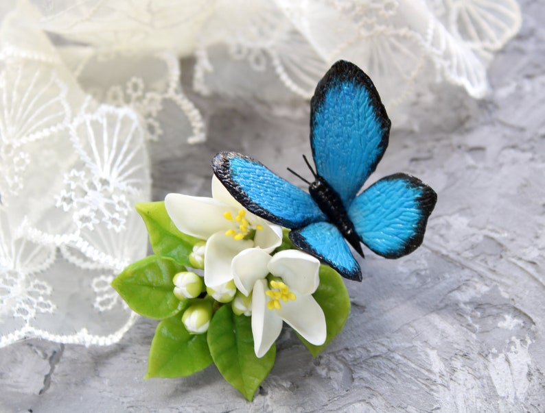 Rustic wedding hair accessory Blue butterfly hair clip for image 0
