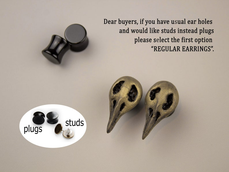 Xmas gift for boyfriend Christmas present for brother Mens plugs and tunnels Guy earrings Raven skull studs Gothic wedding Withcy jewelry