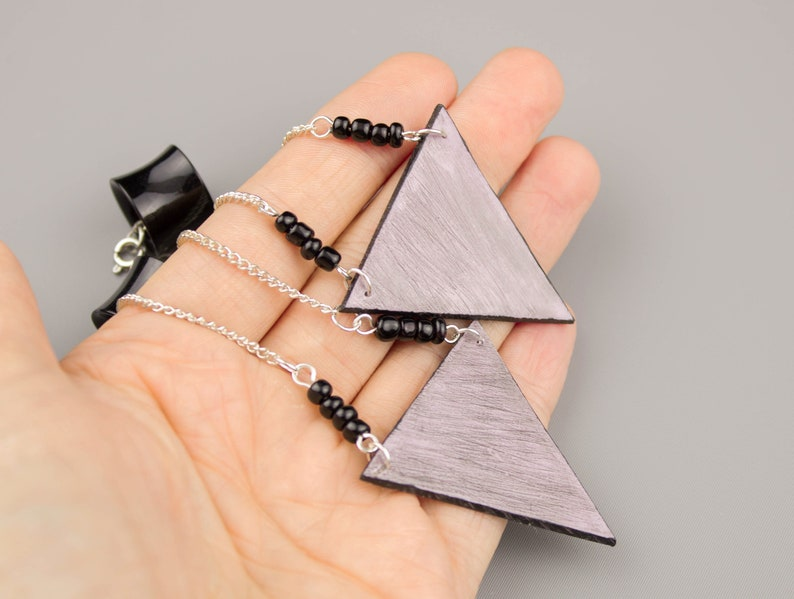 Cute dangle plugs and tunnels Geometric ear hangers Pastel dusty pink triangle ear weights 0g 00g 2g Chain Birthday gift for girlfriend