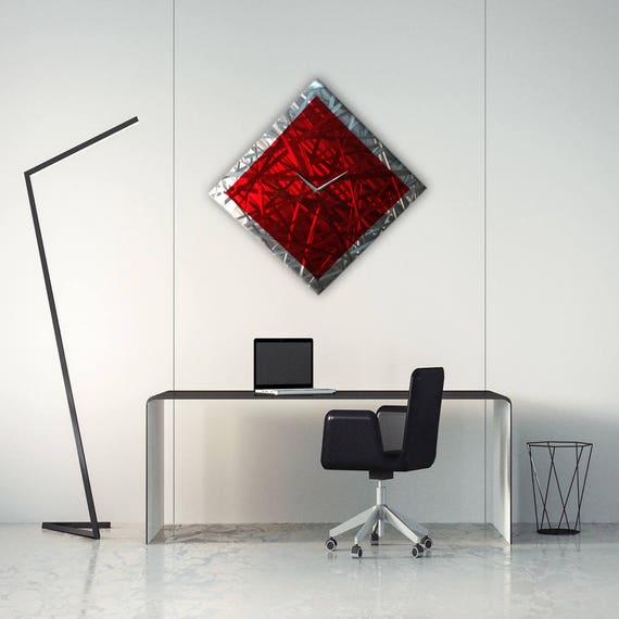 Abstract Metal Wall Clock Modern Wall Clock Metal Wall Art Etsy