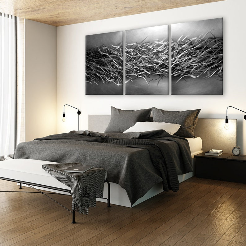 10f192acfcc Abstract Metal Wall Art Contemporary Wall Art Black-Silver