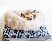Black and white Ethnic - faux fur snuggle sack cuddle cave travel bed anti-anxiety dog bed bohemian deco puppy pocket
