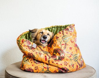 Orange kilim - faux fur snuggle sack | cuddle cave | travel bed | anti-anxiety dog bed | nest bed