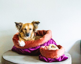 THE DIY DOGBED | Velvet petbed | travel bed | cuddle cave | snuggle sack | anti-anxiety dog bed | anxiety relief | nest bed | customize