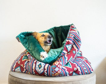 Red ethnic print Thai - velvet travel bed | cuddle cave | snuggle sack | anti-anxiety dog bed | anxiety relief | nest bed