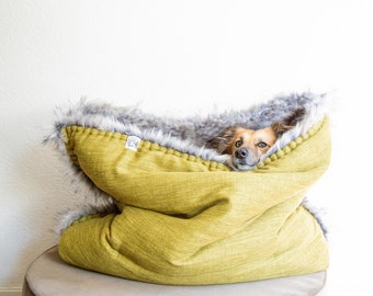 Mélange canvas - faux fur snuggle sack | cuddle cave | travel bed | anti-anxiety dog bed | anxiety relief | nest bed | puppy pocket